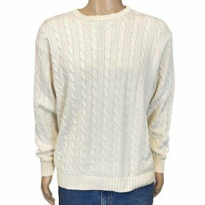 J. Crew 90's Vintage Cream Cable Knit Sweater